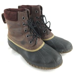 Winter duck boots brown leather waterproof snow